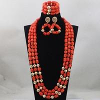 Mode Roten Langen Entwurf Afrikanische Korallen Schmuck Setzt Indischen Schmuck Sets Braut Halskette Schmuck Sets Kostenloser Versand CJ746
