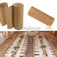 10M 30CM Natural Jute Hessian Burlap Fabric Roll Ribbon Burlap Table Runners Wedding Party Chair Bands