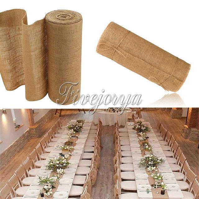 10M*30CM Burlap Lace Hessian Table Runner Roll Vintage Jute Wedding Party  Banquet Home Decoration