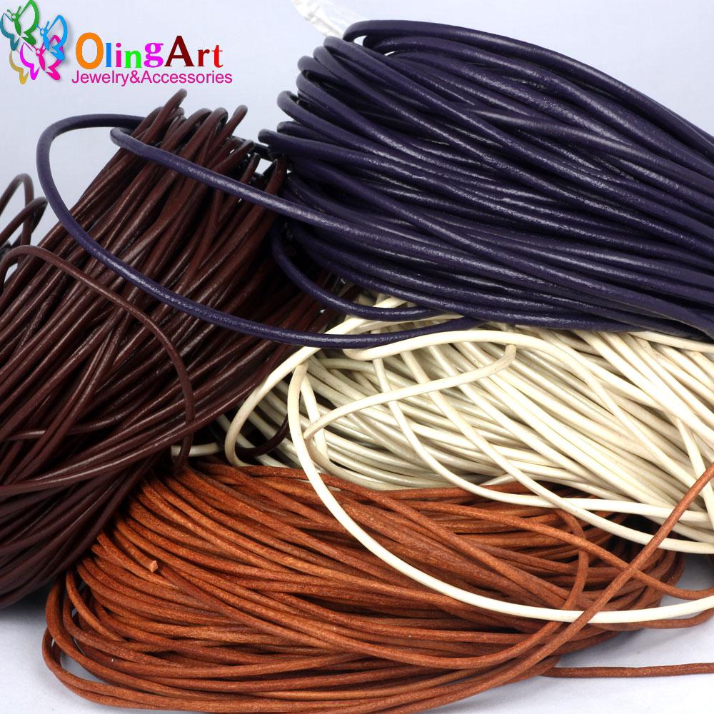 OlingArt 4 MM 2 M Cordón de Cuero Redonda Verdadera/BRICOLAJE Alambre marrón neg