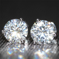 Queen Brilliance Genuine18K 750 White Gold Screw Back 2 Carat ct Lab Grown Moissanite Diamond Earrings Test Positive
