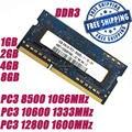 1GB 2GB 4GB 8GB DDR3 PC3 8500 1066MHz /DDR3 PC3 10600 1333MHz /DDR3 PC3 12800 1600MHz 204PIN Оперативная память для ноутбука + Бесплатная доставка