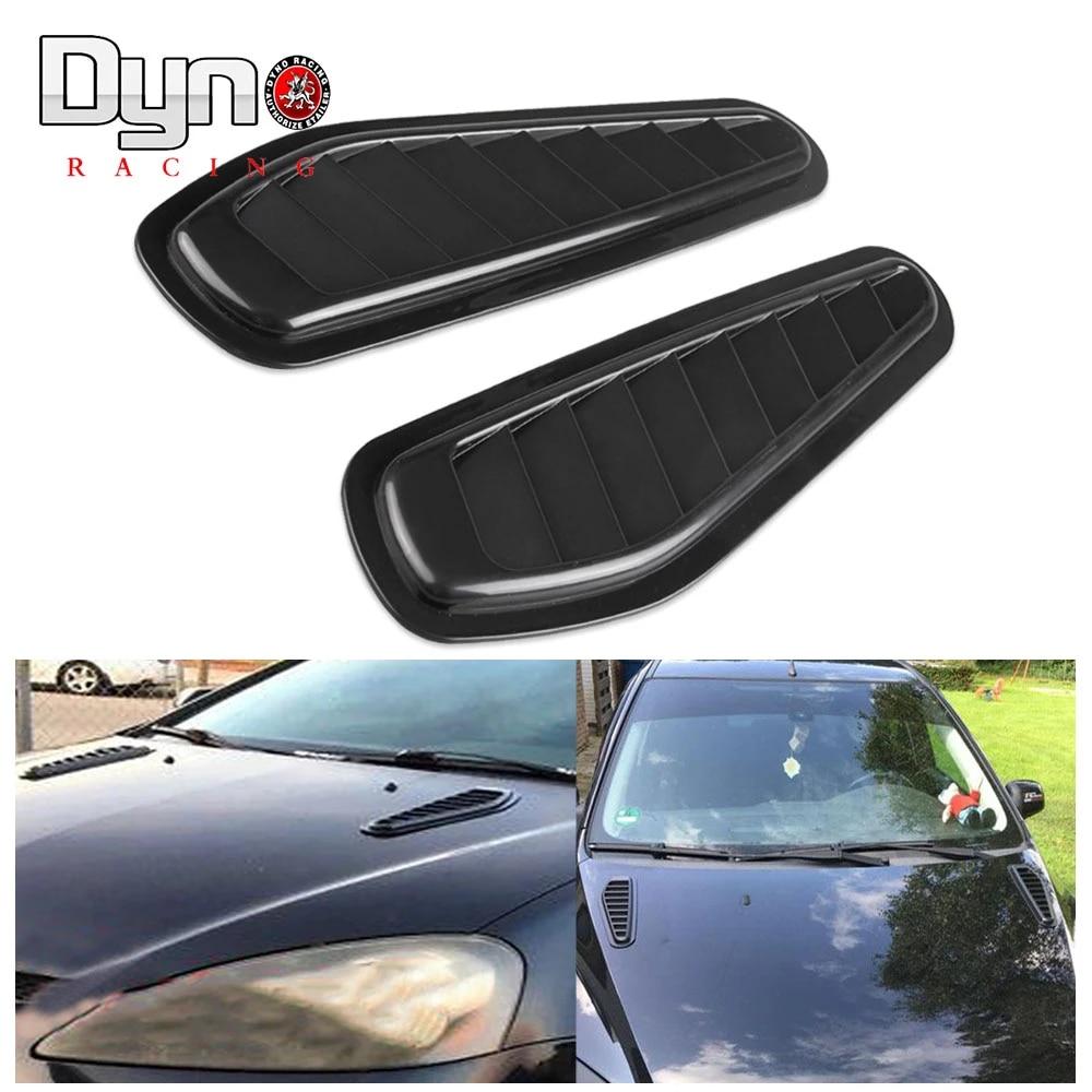 Black Car Decorative Air Flow Intake Scoop Turbo Bonnet Vent Cover Hood Fender