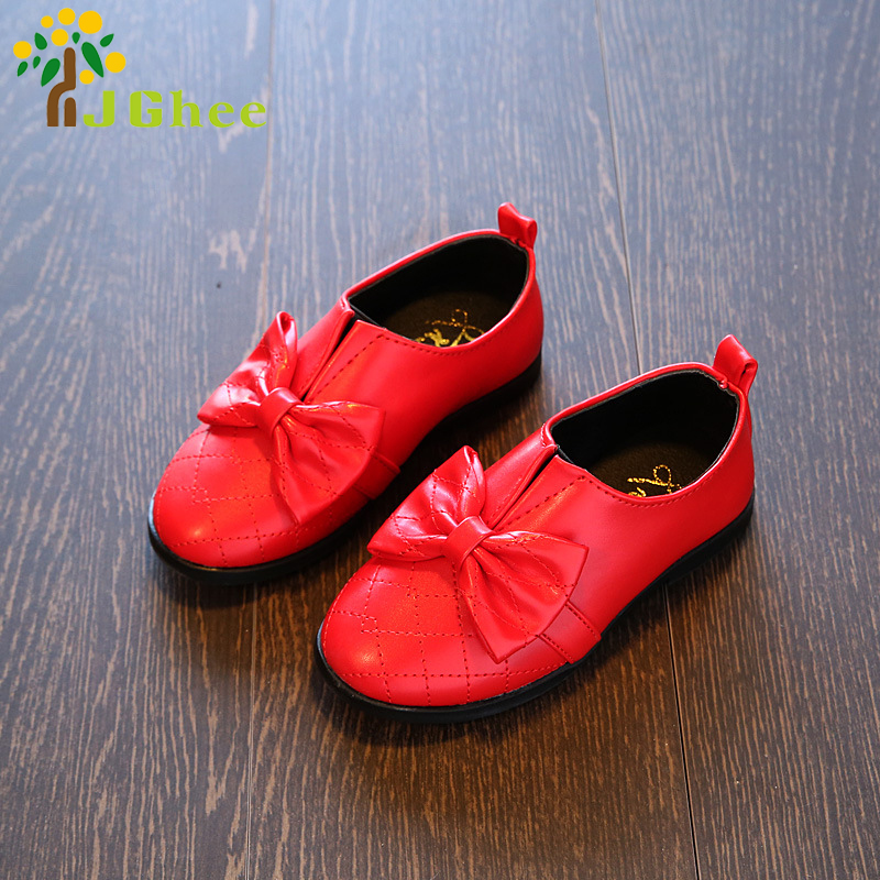 Party Wedding Shoes For Girls Baby Girl Princess Bow-knot Shoes Children Leather Shoes Toddler Kids Flats With Bow 21-36
