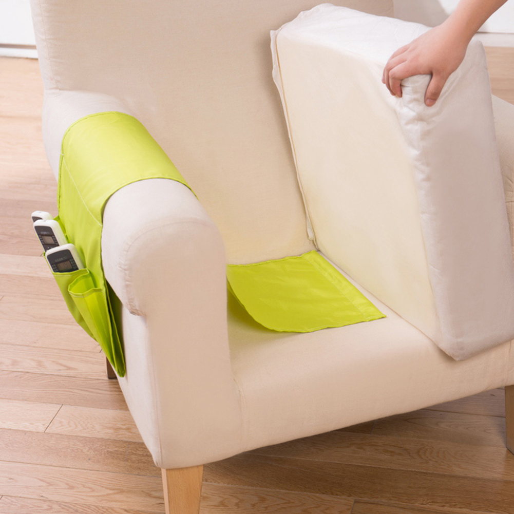 <font><b>Sofa</b></font> Arm Rest <font><b>Remote</b></font> Control Holder Storage Bag TV <font><b>Remote</b></font> Control Organizer 4 <font><b>Pockets</b></font> <font><b>for</b></font> Cell Phones Magazine Storage Pouch image