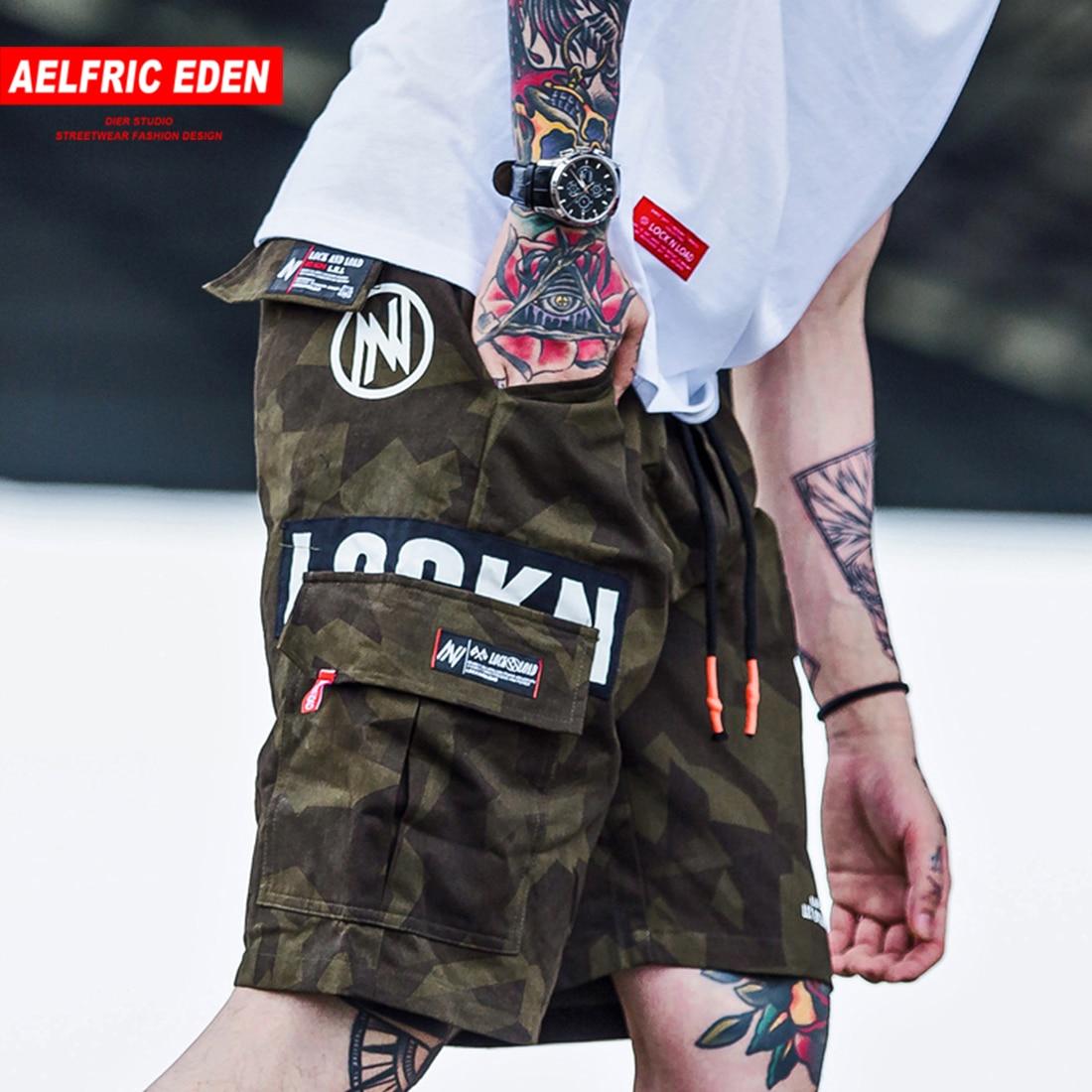 Aelfric Eden Hip Hop Cargo Shorts Men 2020 Summer Letter Print Camouflage Print Streetwear Shorts Knee Length Short Joggers