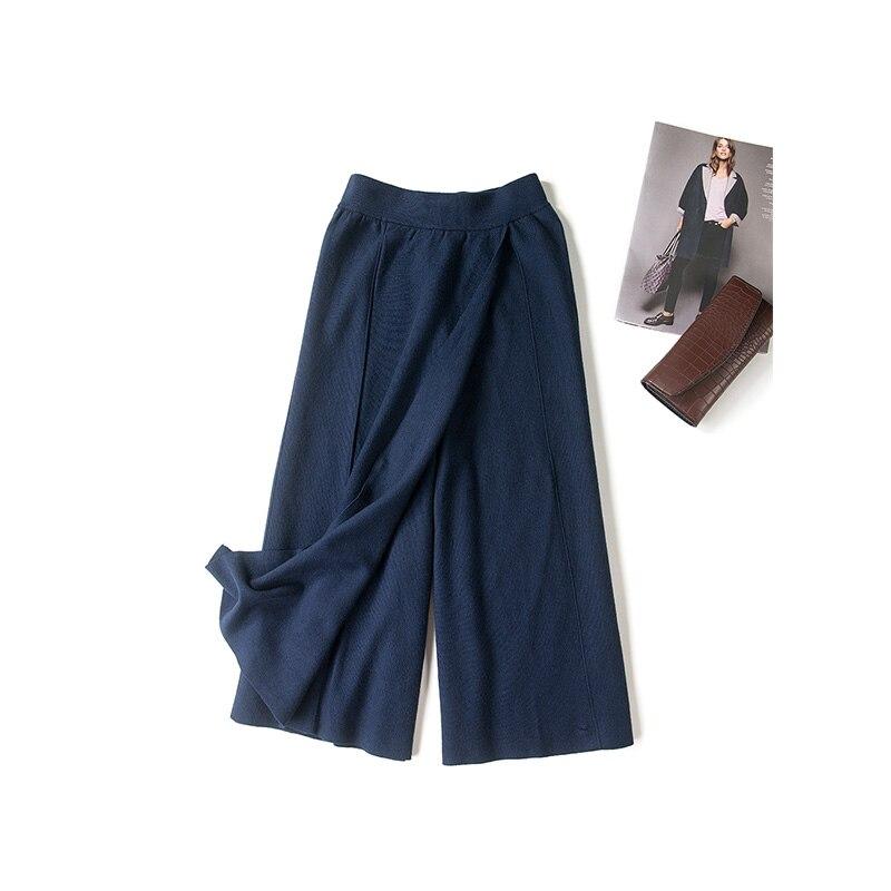 Women wide leg pants Wool knitted Loose pants Winter Solid ...