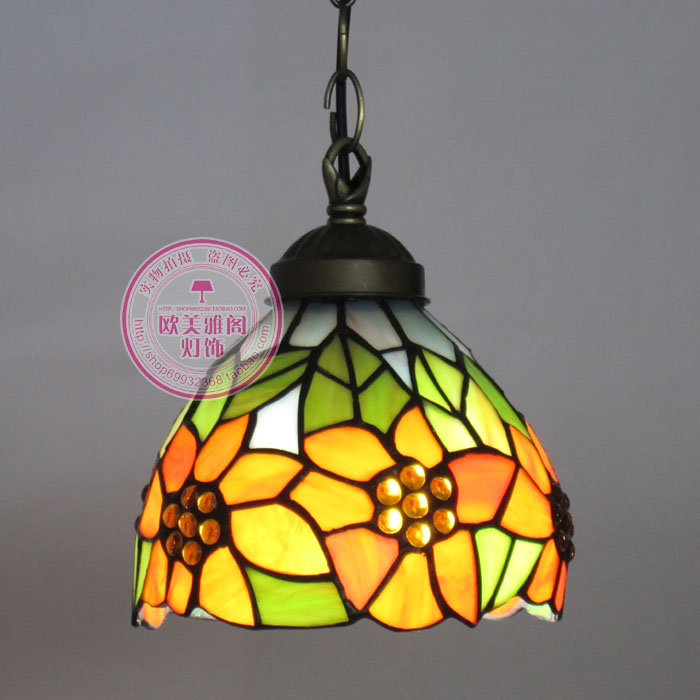 Free shipping 15CM European Sunflower Pendant Tiffany glass bar - Indoor Lighting