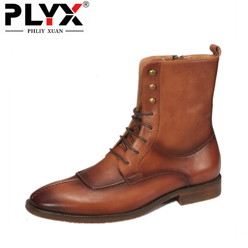 PHLIY XUAN New 2018 Fahsion Retro Winter Men Boot Genuine Leather Motorcycle Boots Pointed Toe High Cowhide Boot Mid-Calf 2017 latest men s mid calf boots genuine leather buckle strap round toe men s leather shoes chakku motorcycle boots