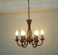 Envío gratuito 6 piezas E14 candelabros de hierro forjado europeos negros/candelabro de vela clásica/candelabro de dormitorio