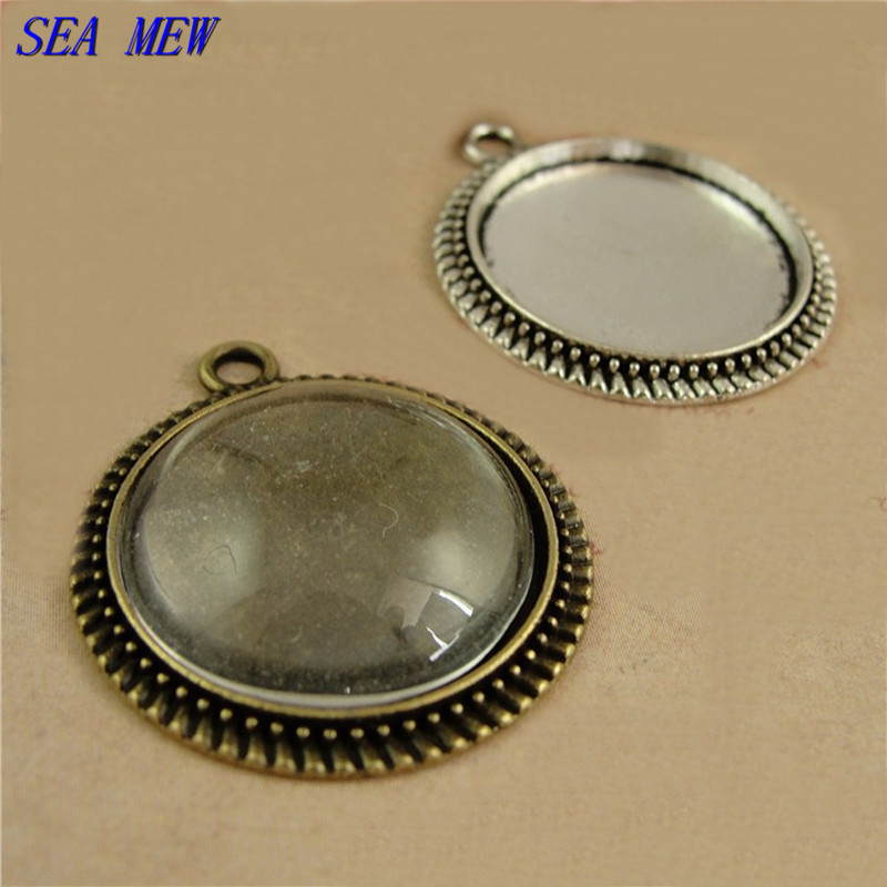 SEA MEW 20MM Round Cabochon Base Antique BronzeSilver Color Vintage Style Alloy Pendant Blank Settings For Jewelry Making