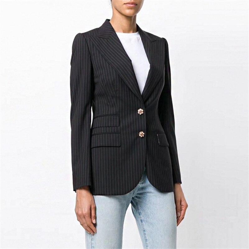 Luxe Designer marque femmes rayé noir veste Rose imprimé soie doublure à manches longues Blazer gem bouton Designer élégant Blazer