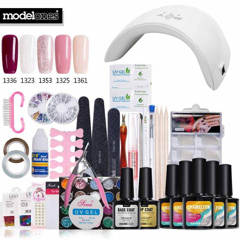 Modelones 35 Pcs/Lot ensemble de vernis à ongles 36W 9SD lampe à LED vernis à ongles Gel vernis à ongles Kits de manucure couche de finition