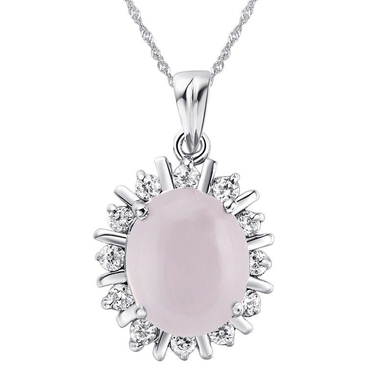 Naturel cristal Rose 925 en argent sterling 4 Carat Rose Quartz collier pendentif de naissance bijoux de luxe cadeau SP0017RS
