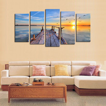 5 Piece Canvas Art Modern Seascape Painting HD Sea wave sunrise Landscape Wall Picture For Bed Room Framed