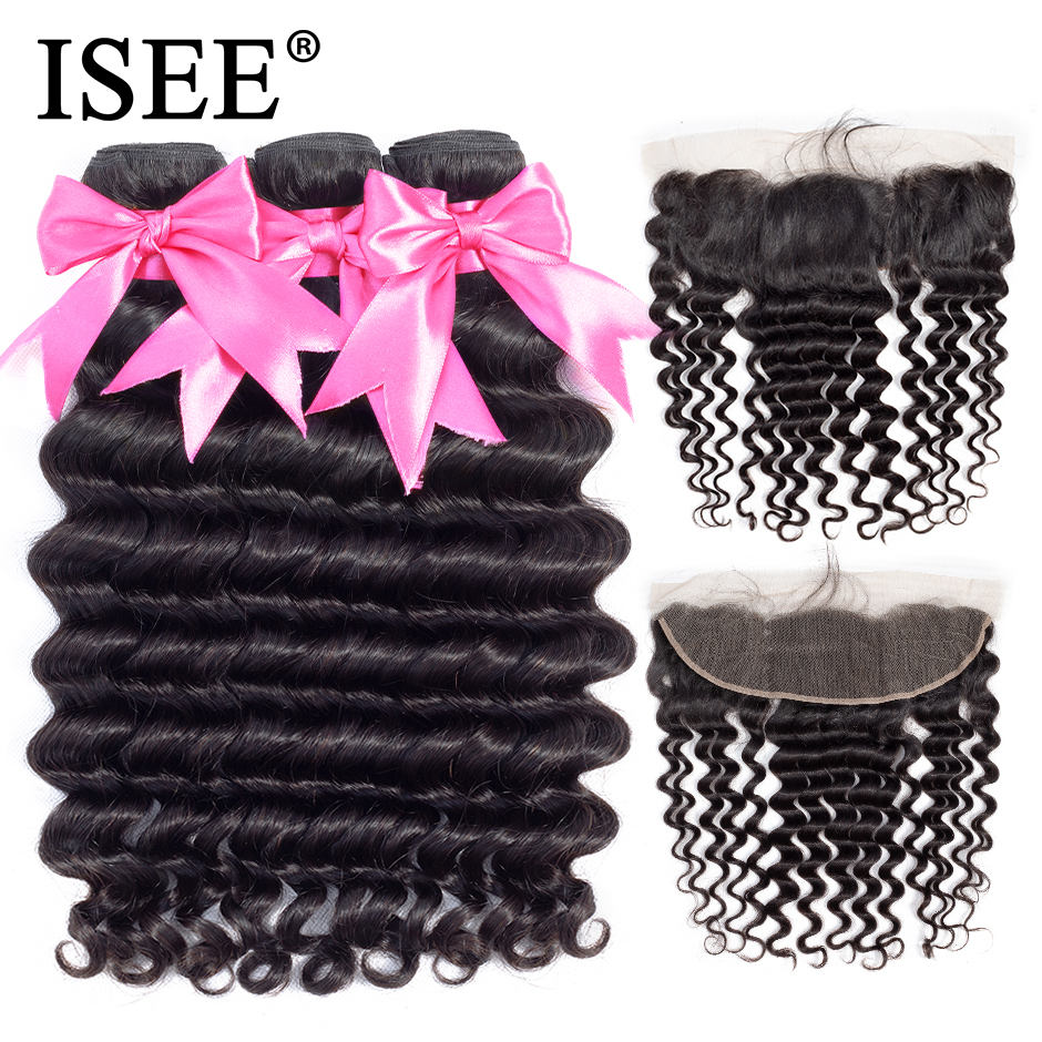 ISEE HAIR Human Hair Bundles With Closure 13*4 Pre Plucked Lace Frontal Closure Remy Brazilian Loose Deep Bundles With Frontal-in 3/4 Bundles with Closure from Hair Extensions & Wigs    1