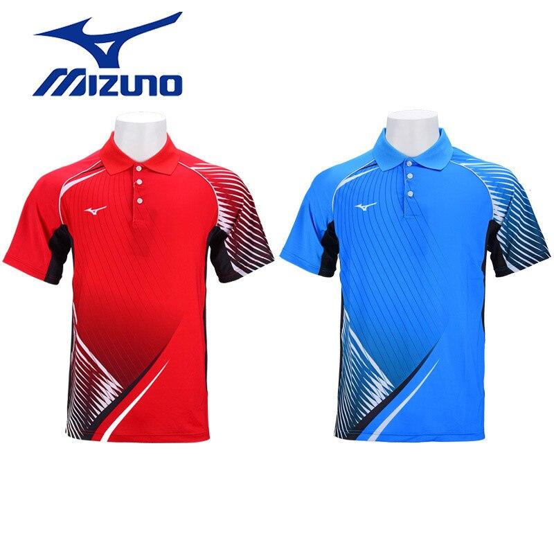 Red Mizuno Team Short Sleeve Mens Running Top