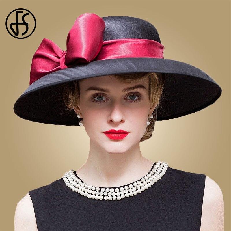 fcef9c0760436 FS real damas boda sombrero para las mujeres arco grande de ala ancha negro  caqui Iglesia Fedora sombreros de fiesta mujer Derby de Kentucky sombrero  en Las ...