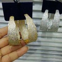 GODKI 53mm Luxury Popular Luxury Wide Cricle Full Mirco Paved Crystal Zircon Naija Wedding Drop Earring