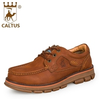 CALTUS 100 Genuine Leather Mens Shoes Casual 2017 Breathable New Fashion Flats Men Shoes High Quality