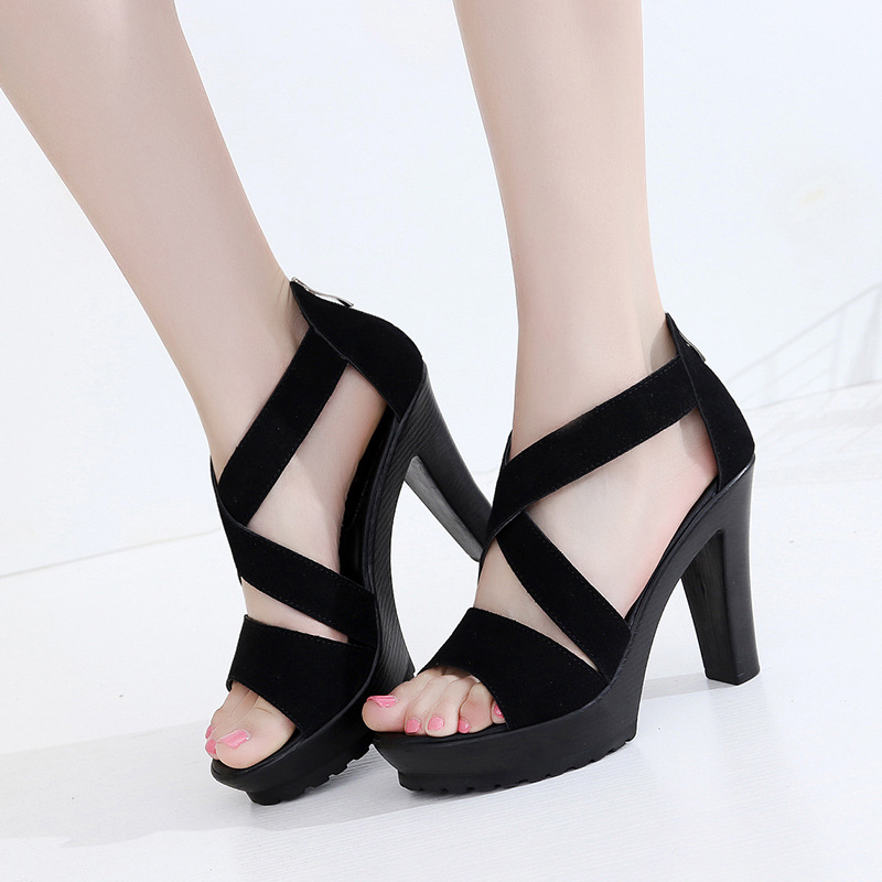 Sexy Gladiator 9 Cm High Heels Sandals Women Summer Platform Pumps Buckle Ladies Shoes Female Zapatos Mujer Size 34-43 gladiator womens size 11 heels sheepskin sandals large size 33 cm 43 cm summer black green sandy cross tied woman pumps sexy
