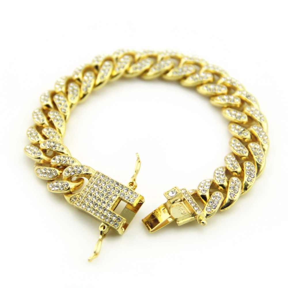 12 MM Hiphop Miami Curb kubański bransoletka męska Chunky Iced Out AAA cyrkon Bangel Bling duża bransoleta złoto srebro dla raper Rocker