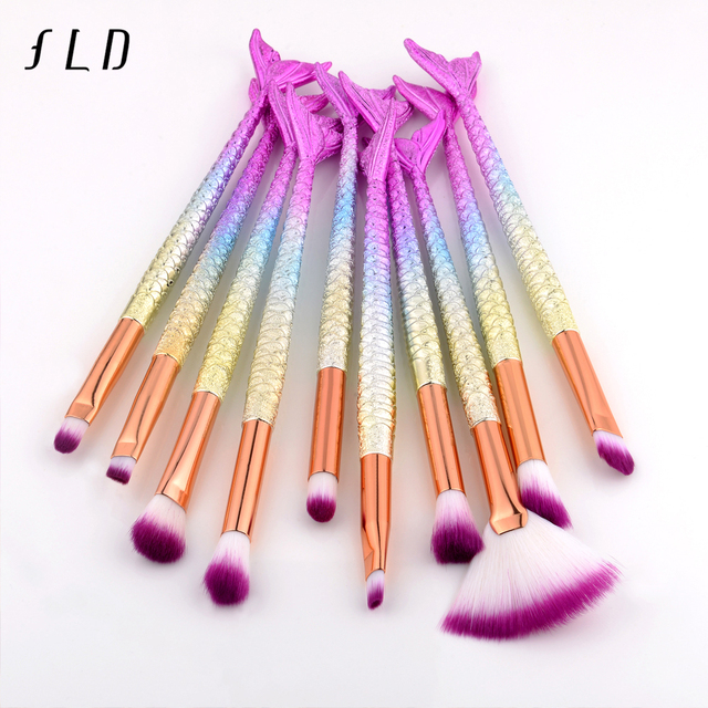 FLD Professional Mermaid Makeup Brushes Set Eye Set Kits Shadow Eyeliner High Quality Makeup Brush Tools Eyebrow Tools Kit 1
