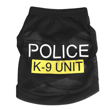 Police Suit Cosplay Dog Clothes Black Elastic Vest Puppy T-Shirt Coat Accessories Apparel Costumes Pet Clothes For Dogs Cats 20A