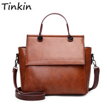 Tinkin Women Retro Pu Shoulder Bag Female Vintage Daily Handbag Elegant Crossbody For Ping Classy