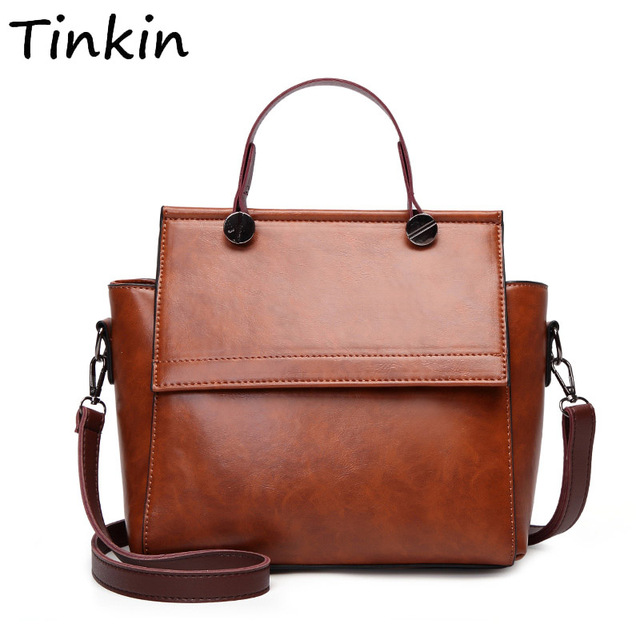 bfb9ba4a166e Tinkin Women Retro PU Shoulder Bag Female Vintage Daily Handbag Elegant  Crossbody Bag for Shopping Classy
