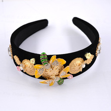 Golden Bee Headband Baroque Gemstone Gem Jewel Head Band Jewelled Hair Floral Metal Embellished Accessories