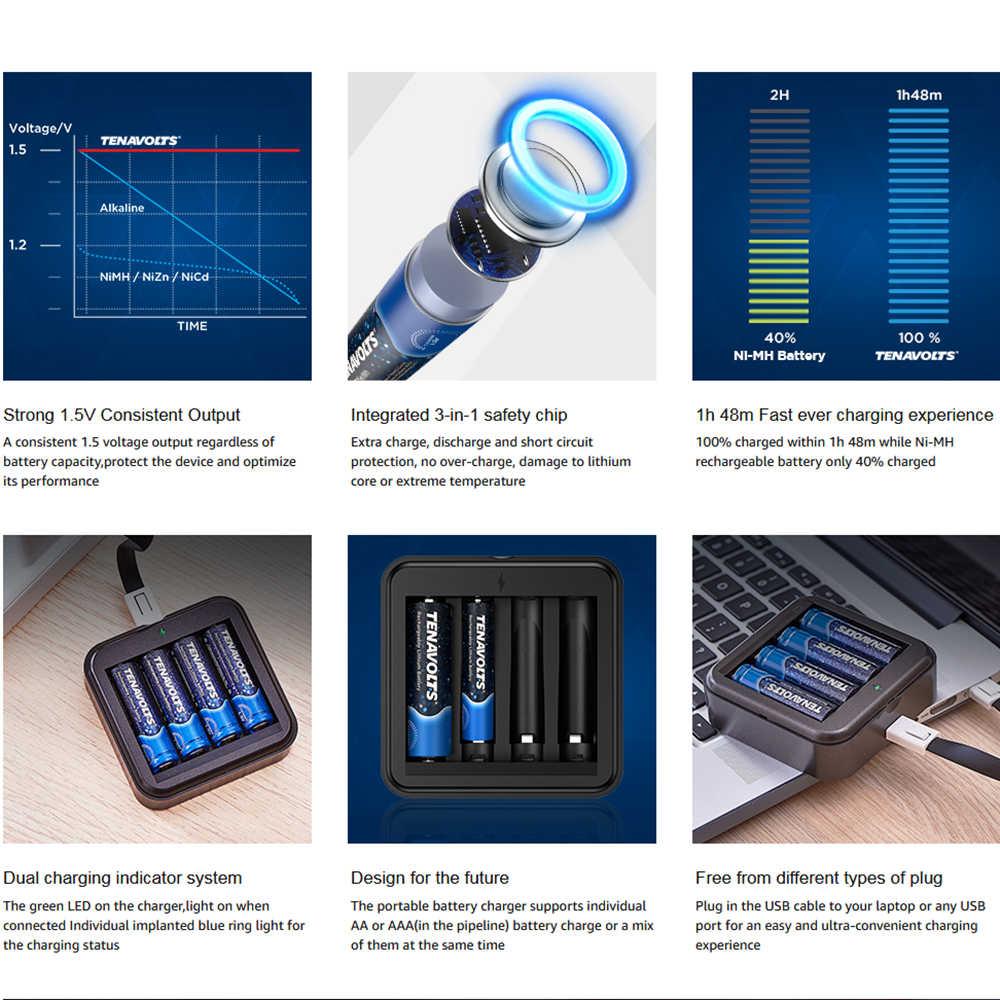 NANFU 8 шт./компл. TENAVOLTS AA Аккумуляторная батарея с зарядным устройством 2775 mWh литий-ионная предварительно Заряженная 2 Abatteries 1,5 V [RU]
