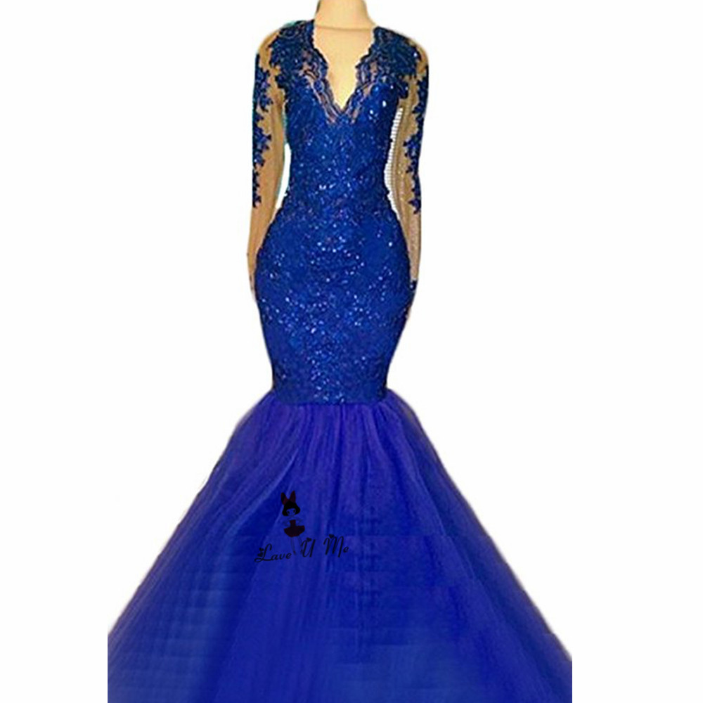 Weddings & Events Royal Blue Long Sleeve Lace Evening Dresses Sexy Formal Special Occasion Gowns See Through Mermaid Prom Dress 2018 Vestido Longo