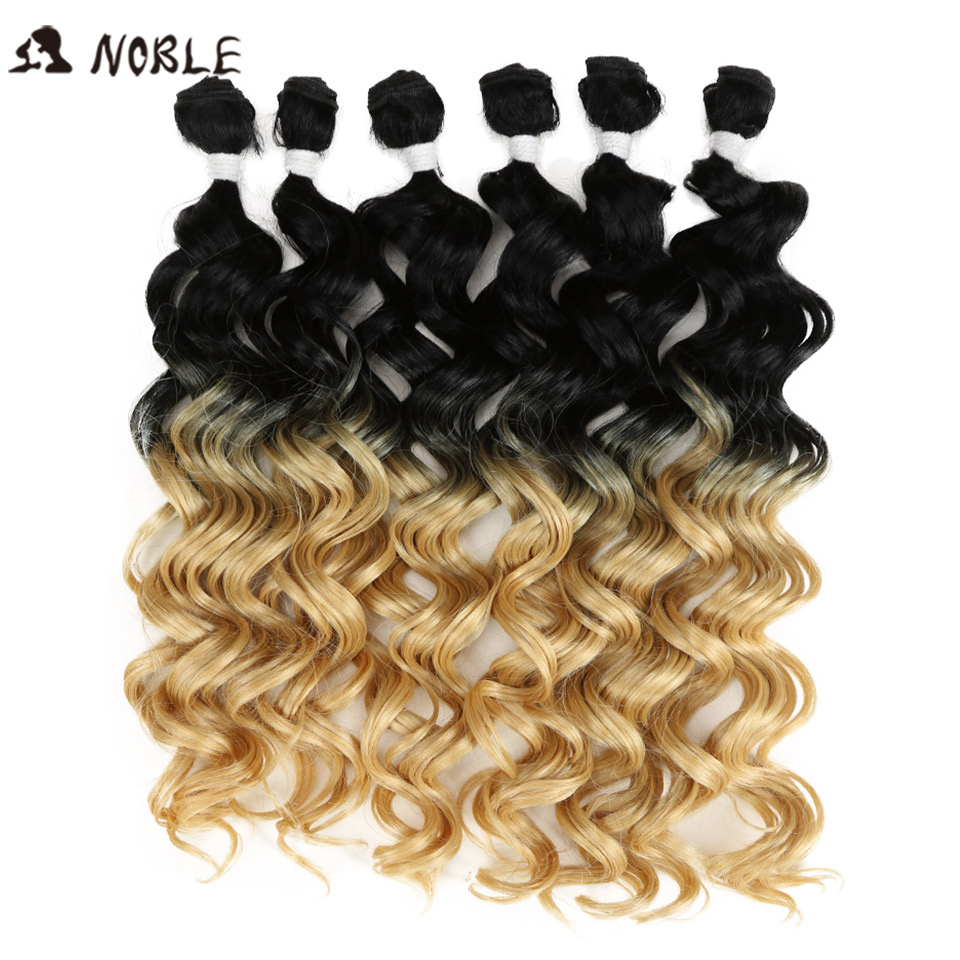 Noble Kıvırcık ombre saç Demetleri Demetleri Sentetik Saç Kıvırcık Örgü Kıvırcık Saç 6 Adet 24