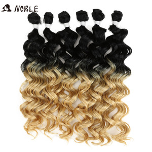 """Noble Curly Ombre Hair Bundles Bundles Synthetic Hair Curly Weave Curly Hair 6 Pcs 24""""-28"""" Blonde Brown Hair Extension Bundles(China)"""