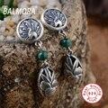 Phoenix & Peony Earrings 100% Real 925 Sterling Silver Jewelry Malachite Retro Earrings for Women Party Gifts Bijoux SY31091