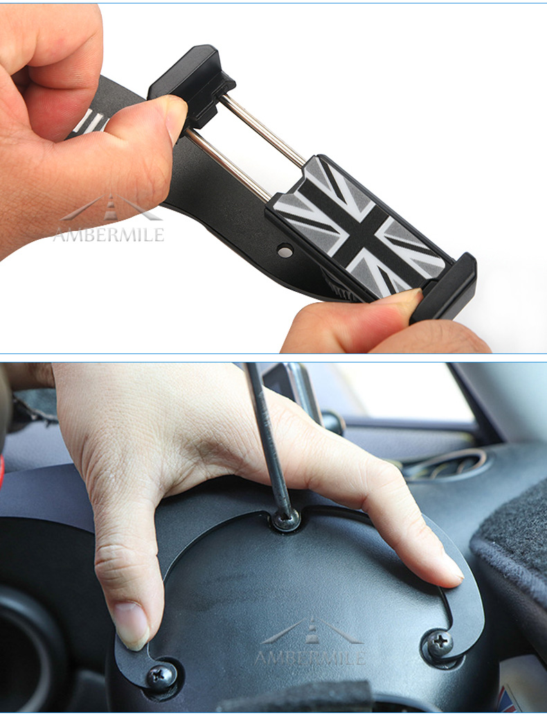 Airspeed MINI Bracket Car Mobile Phone Holder Auto Steering Wheel Rear Phone Mount for Mini Cooper R55 R56 Hatchback Accessories (7)