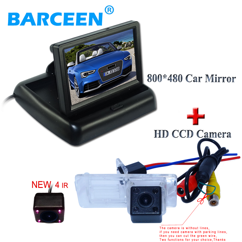 Wire car parking camea 4 ir + 800*480 hd car screen monitor 4.3
