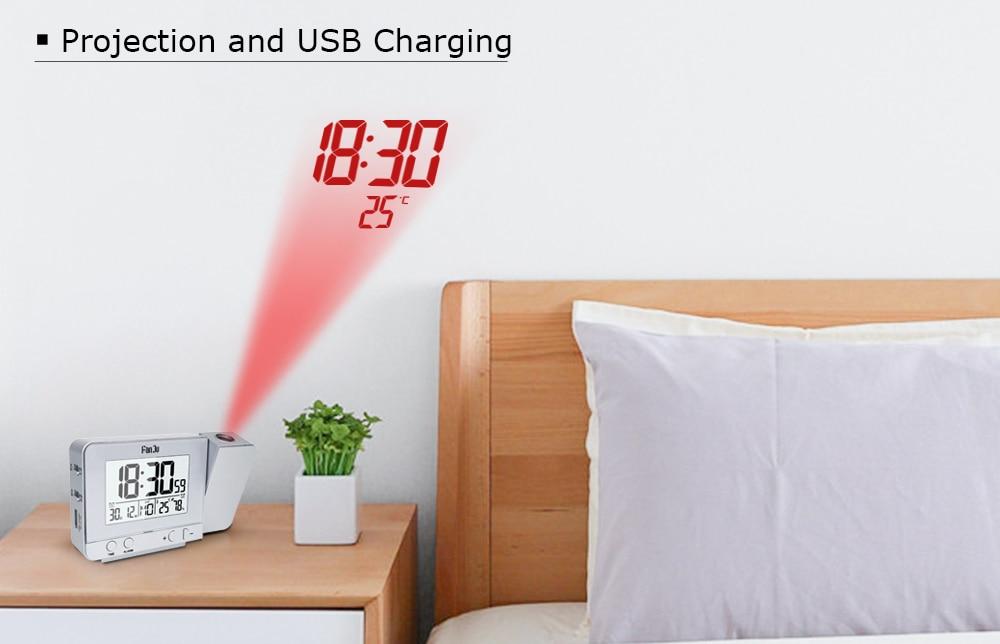 FanJu FJ3531 Projection Alarm Clock Digital Date Snooze Function Backlight  Projector Desk Table Led Clock With Time Projection Alarm Clocks  -  AliExpress