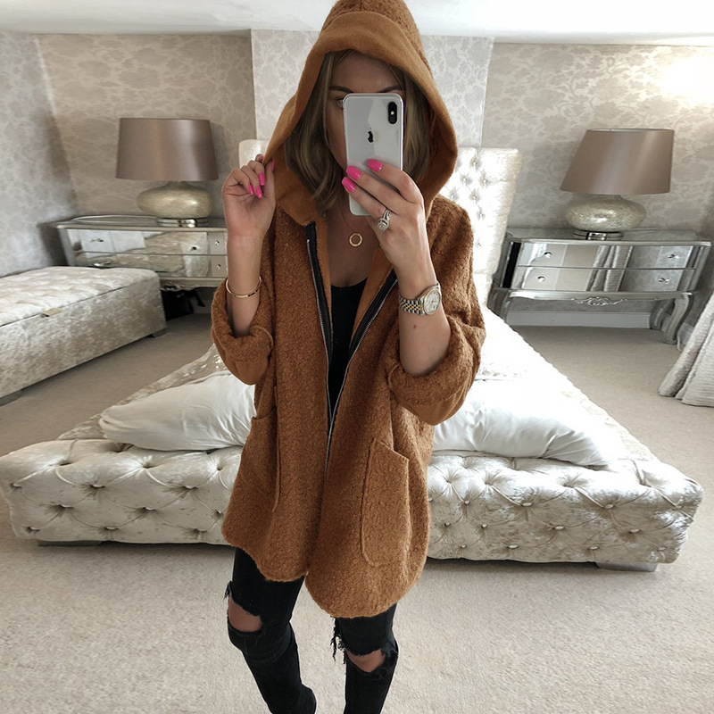 Women Jacket Coat Autumn Winter Long Sleeve Hooded Coat Jacket Casual Zipper Pocket Female Loose Outwear veste femme plus size in Jackets from Women 39 s Clothing