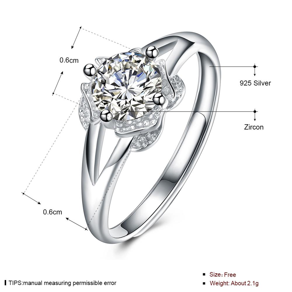 SILVERHOO real S925 Sterling Silver Jewelry flower Finger Ring for Women Design Wedding Engagement Ring Jewelry gift(China)