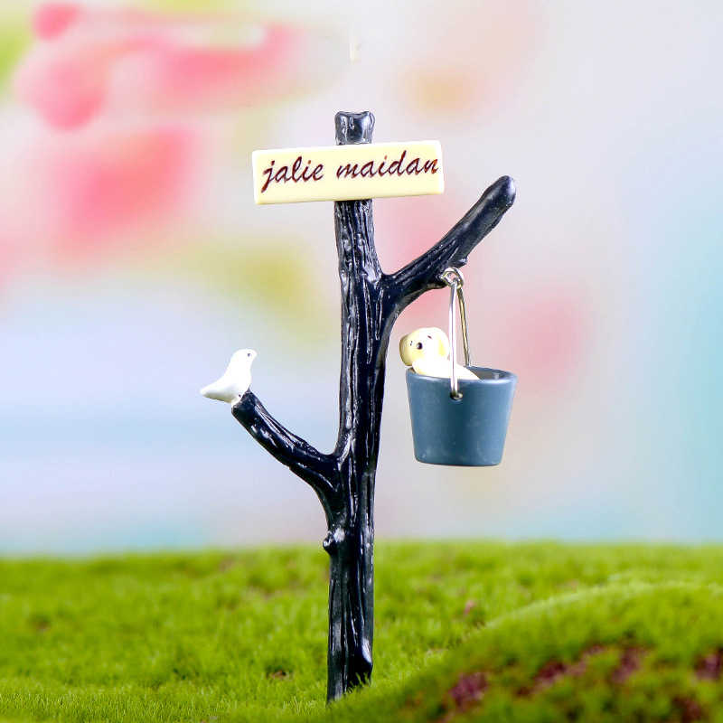 New Dog Water Bucket Road Sign Terrarium Figurines Fairy Garden Miniatures Miniaturas Resin Craft Bonsai Decor