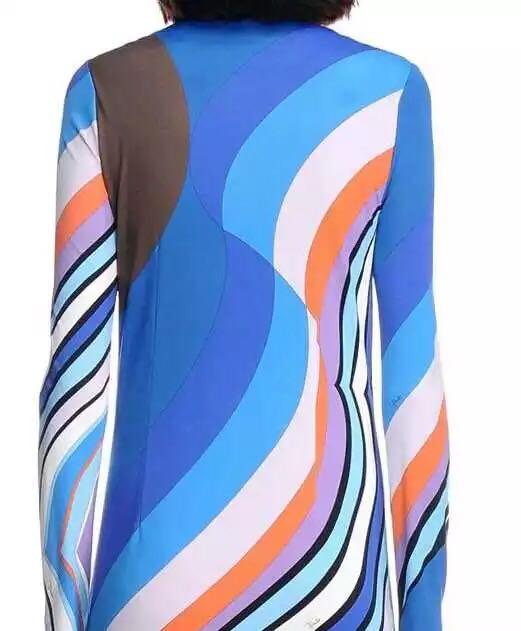 Luxe Géométrique Robe Charme Spandex À Longues Bleu De Femmes Imprimé Xxl Jersey 2015 Manches Signature Extensible Marques Soie Automne WEe9YHI2D