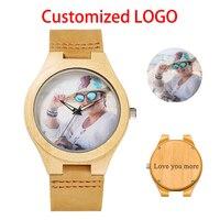 Personalidad Creativa de Diseño de Logotipo Personalizado Reloj de Pulsera de Madera de Impresión Fotográfica Especial OEM Pareja Relojes Para Hombres Mujeres Regalo Único