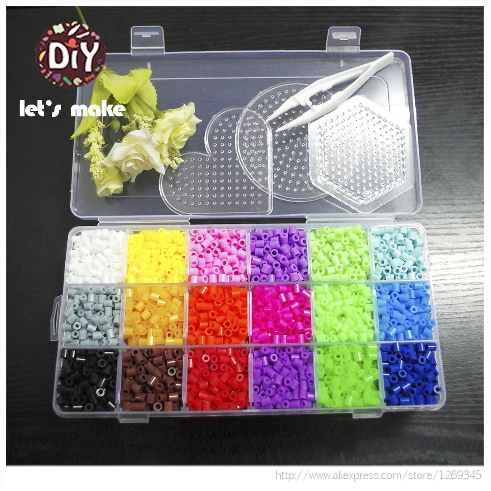 Let's Make Hama Beads 18 Color 2500pc Box Set 2 Template+2 Iron Papers+1 Tweezers Fuse Perler Beads Diy Educational Toys Craft artkal mini beads 36 color box set funny food grade eva educational toys diy hama beads handmade gift cc36 page 2