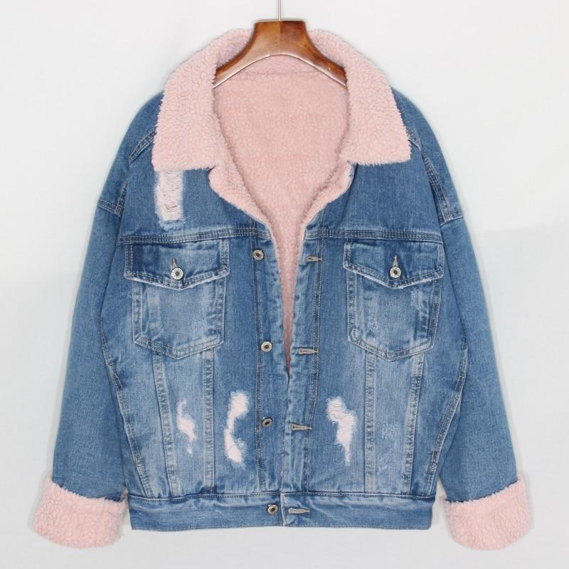 Manteaux Rose Jeans Doublure Casual Demin Femme Vestes Noir Haute 2018 Oversize Rue Laineux Laine Épais bleu D'hiver Mode Flocage WZA8ZYSqR