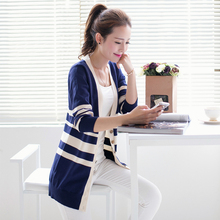 Women s new hit color striped long section of cultivating wild thin women wool knit cardigan