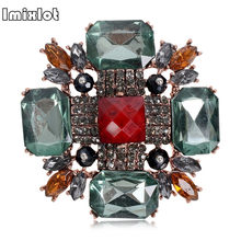 Verde antico e blak Crystal Art Deco Super Star Spille Tono Argento Marquise Quadrato di Pietra Maltese Cross Spilla Spille Accessorio(China)