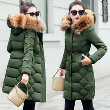 Большой меховой воротник зимнее пальто для женщин Новая мода натуральный мех зимняя куртка женская парка тонкий пуховик женская теплая верхняя одежда