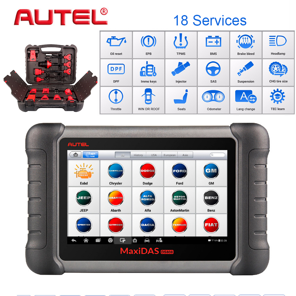 Autel PRO Car Diagnostic Tool  Maxidas DS808K OBD Scanner Swift Diagnosis Functions of EPB//DPF/SAS/TMPS Same as MS906BT